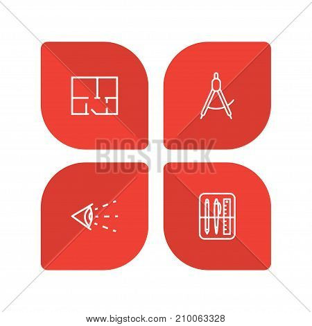 Collection Of Dividers, Property Plan, Drawing Tools And Other Elements.  Set Of 4 Constructive Outline Icons Set.
