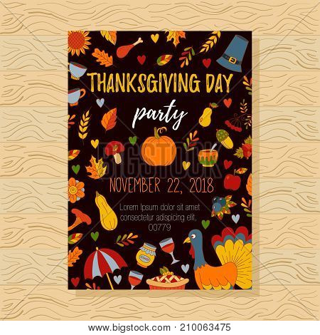 Thanksgiving day party invitation doodle icons template