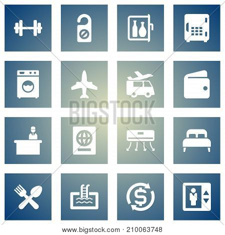 Collection Of Currency, Wall Cooler, Check In And Other Elements.  Set Of 16 Motel Icons Set.