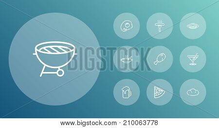 Collection Of Beer, Sausage, Pasta And Other Elements.  Set Of 10 Food Outline Icons Set.
