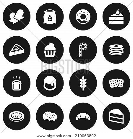 Collection Of Striped Lollipop, Pepperoni, Sack And Other Elements.  Set Of 16 Pastry Icons Set.