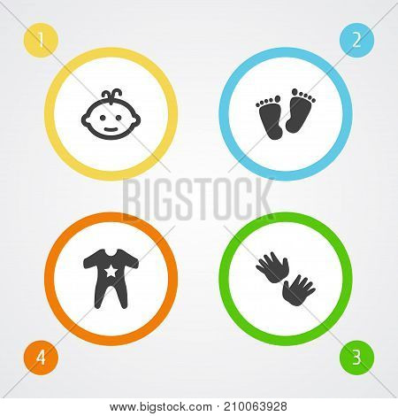 Collection Of Palm, Baby, Trace And Other Elements.  Set Of 4 Baby Icons Set.