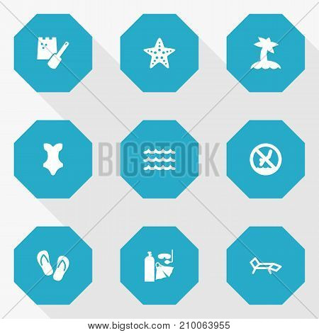 Collection Of Game, Starfish, Flip Flop And Other Elements.  Set Of 9 Coast Icons Set.