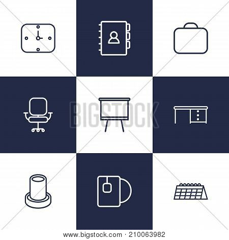 Collection Of Calendar, Wall Clock, Briefcase And Other Elements.  Set Of 9 Office Outline Icons Set.