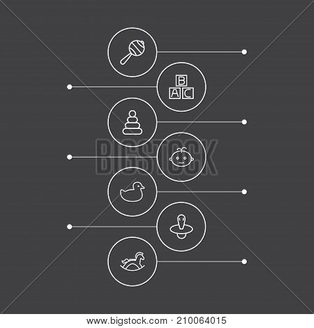 Collection Of Rattles, Pyramid, Boy And Other Elements.  Set Of 7 Kid Outline Icons Set.