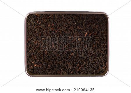 Dry Black Tea Leaves In Box Isolated On White Background
