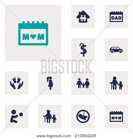 Collection Of Relatives, Automobile, Playing And Other Elements.  Set Of 12 Relatives Icons Set.