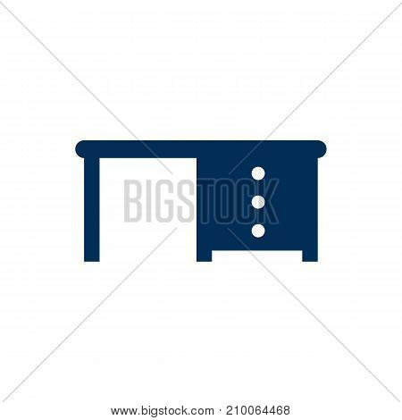 isolated Desk Icon Symbol On Clean Background.