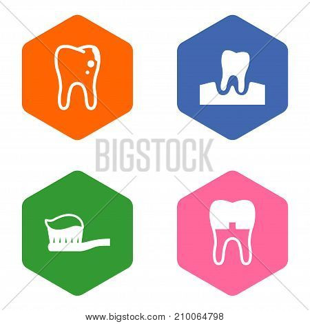Collection Of Dental Crown, Gingivitis, Toothpaste And Other Elements.  Set Of 4 Dentist Icons Set.