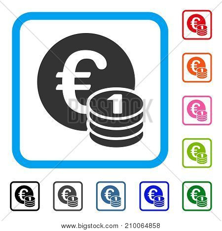 One Euro Coin Stack icon. Flat grey pictogram symbol inside a light blue rounded rectangle. Black, gray, green, blue, red, orange color versions of One Euro Coin Stack vector.