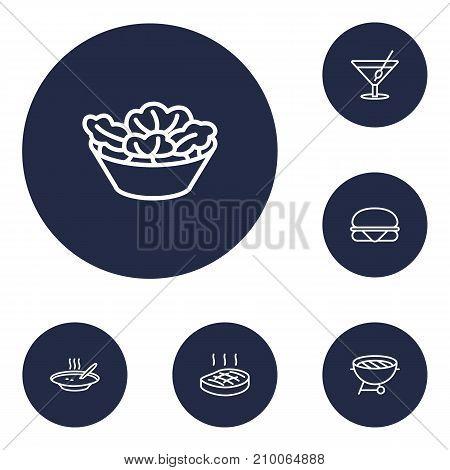 Collection Of Steak, Salad, Sandwich Elements.  Set Of 6 Dish Outline Icons Set.