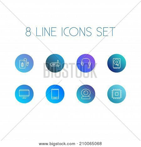 Collection Of Tablet, Powerbank, Monitor And Other Elements.  Set Of 8 Computer Outline Icons Set.
