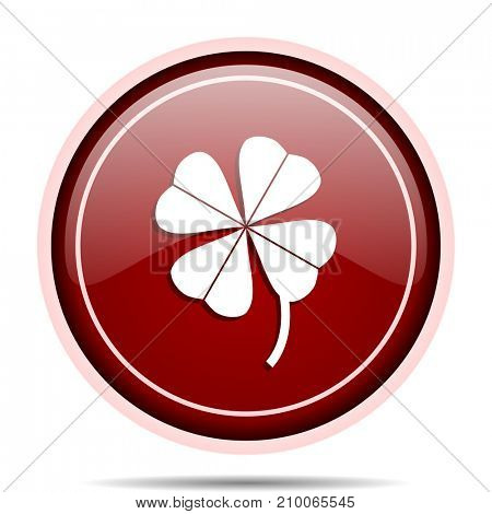 Four-leaf clover red glossy round web icon. Circle isolated internet button for webdesign and smartphone applications.