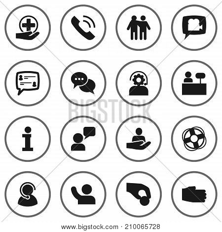 Collection Of Talk, Speaker, Technical And Other Elements.  Set Of 16 Backing Icons Set.