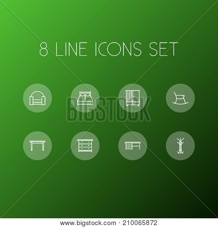 Collection Of Moving Chair, Drawer Unit, Sofa And Other Elements.  Set Of 8 Decor Outline Icons Set.