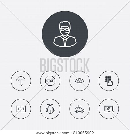 Collection Of No Entry, Lock, Bodyguard And Other Elements.  Set Of 9 Procuring Outline Icons Set.