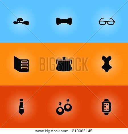 Collection Of Beachwear, Smart Watch, Sunglasses And Other Elements.  Set Of 9 Decorating Icons Set.