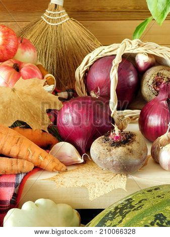 Freshly picked harvest of different autumn vegetables and fruit on a wooden background. Autumn harvest