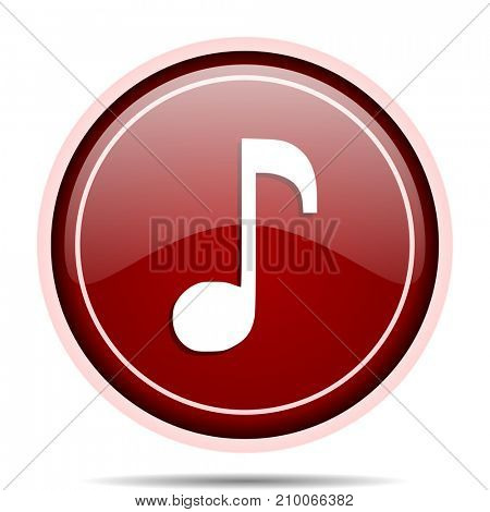 Music red glossy round web icon. Circle isolated internet button for webdesign and smartphone applications.