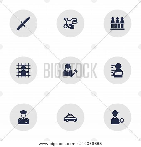 Collection Of Victim, Policeman, Jury And Other Elements.  Set Of 9 Criminal Icons Set.