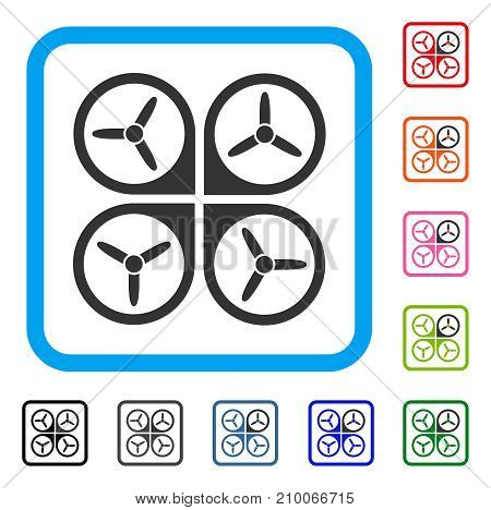 Quadrotor icon. Flat grey pictogram symbol in a light blue rounded squared frame. Black, gray, green, blue, red, orange color versions of Quadrotor vector. Designed for web and application interfaces.