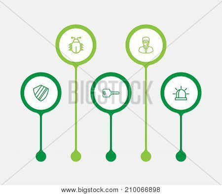 Collection Of Bodyguard, Protection, Alarm And Other Elements.  Set Of 5 Security Outline Icons Set.