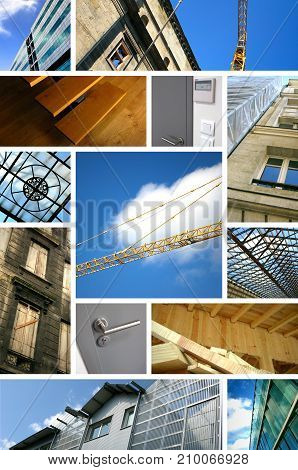 Collage of images about construction sites and architecture