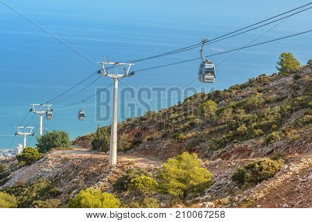 Cable Car to Mount Calamorro near Benalmadena on September 3 2017 in Andalucia Spain.