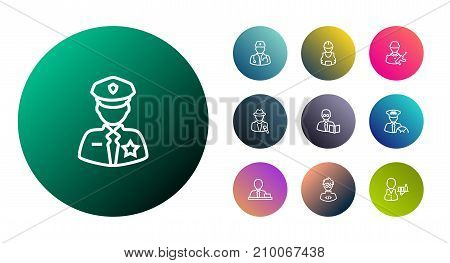 Collection Of Reporter, Policeman, Worker And Other Elements.  Set Of 10 Position Outline Icons Set.