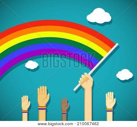 Man Hold In His Hand A Gay Rainbow Flag. Symbol Of Lgbt Community. Stock Vector Cartoon Illustration