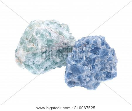 Raw Blue Calcite  and Green Apophyllite Clusters in matrix isolated on white background