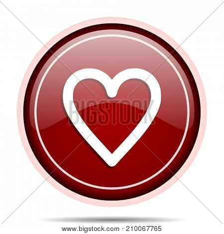 Heart red glossy round web icon. Circle isolated internet button for webdesign and smartphone applications.