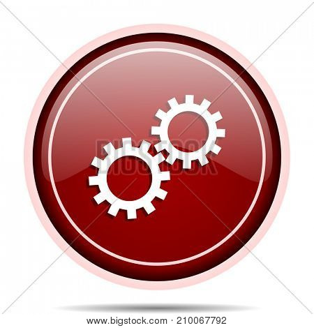 Gear red glossy round web icon. Circle isolated internet button for webdesign and smartphone applications.
