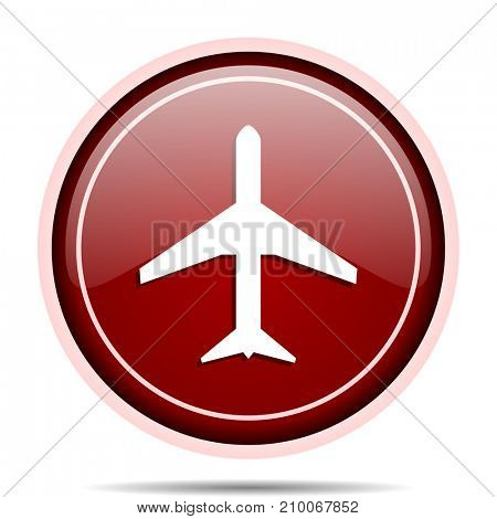 Plane red glossy round web icon. Circle isolated internet button for webdesign and smartphone applications.