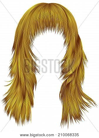 trendy woman long hairs bright yellow colors .  beauty fashion .  realistic 3d