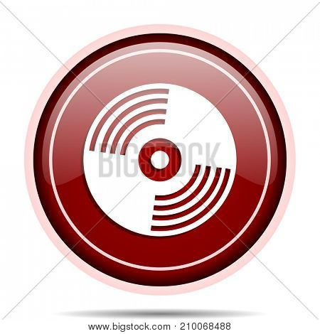 Vinyl music red glossy round web icon. Circle isolated internet button for webdesign and smartphone applications.