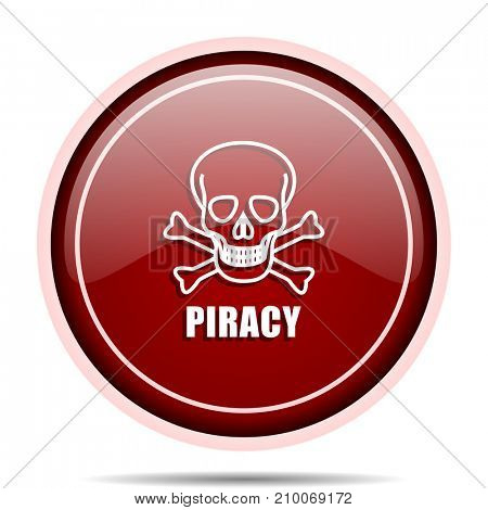 Piracy skull red glossy round web icon. Circle isolated internet button for webdesign and smartphone applications.