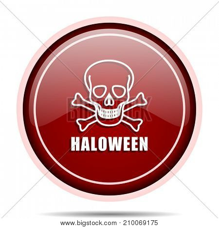 Haloween skull red glossy round web icon. Circle isolated internet button for webdesign and smartphone applications.