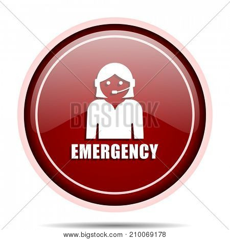 Emergency red glossy round web icon. Circle isolated internet button for webdesign and smartphone applications.