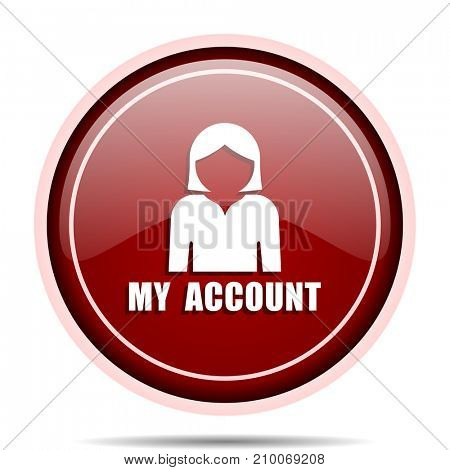 My account red glossy round web icon. Circle isolated internet button for webdesign and smartphone applications.