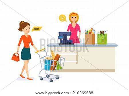 Store shopping. Shop, supermarket interior, healthy eating, products. Young woman walking around the store and takes fresh food. Retail women cashier and woman with purchases. Vector illustration.