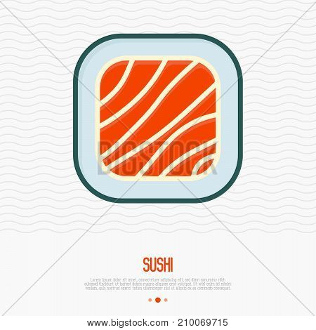 Sushi thin line icon for menu of restaurant or logo. Simple vector illustration of Japanese food.
