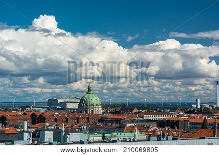 Copenhagen, Denmark - september 3, 2017: Cityscape of Copenhagen viewed from the top of the round tower (rundetaarn). Copenhagen is the capital and most populous city of Denmark.