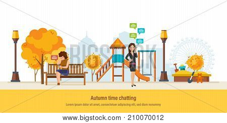 Autumn time chatting. Autumn kids playground, walking city park with seasonal leaves. Girls talking in chat and social networks, send sms message via mobile chat, voice dialogue. Vector illustration.