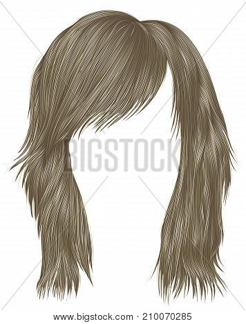 trendy  woman  hairs blond color . medium length . beauty style . realistic  3d .