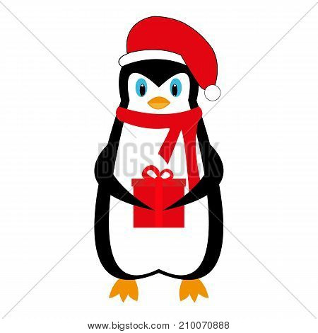 Cartoon New Year holiday penguin with a gift