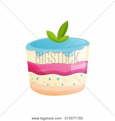 Beautiful delicious berry cake with mint leaves. Sweet baked desserts. Delicious food. Vector illustration isolated.
