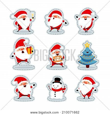 Santa Claus in different situations. Stickers. Funny emotional characters for the Christmas and New Year design. Humorous collection of Xmas. Vector art. Isolated on white background. Set 2