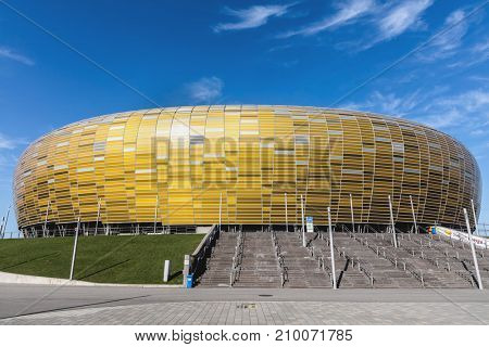 GDANSK, POLAND - October 10, 2017. The Stadion Energa Gdansk is a football stadium located in nothern Poland. Currently it's a home stadium for Lechia Gdansk and hosts many cultural events.