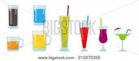Colorful glass of drink set, Alcoholic , fruit juice, beer, water and other drinks